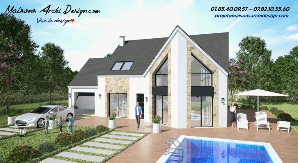 Altesse L Panorama Stone Visio maison plan modele moderne design avec grandes baies vitree bardage et parement forme en L