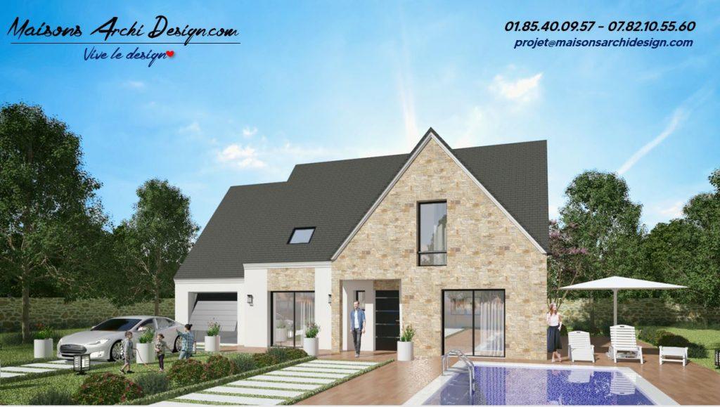 Altesse L Stone Plan maison en L interieur et visuel et photo exterieure combles amenages