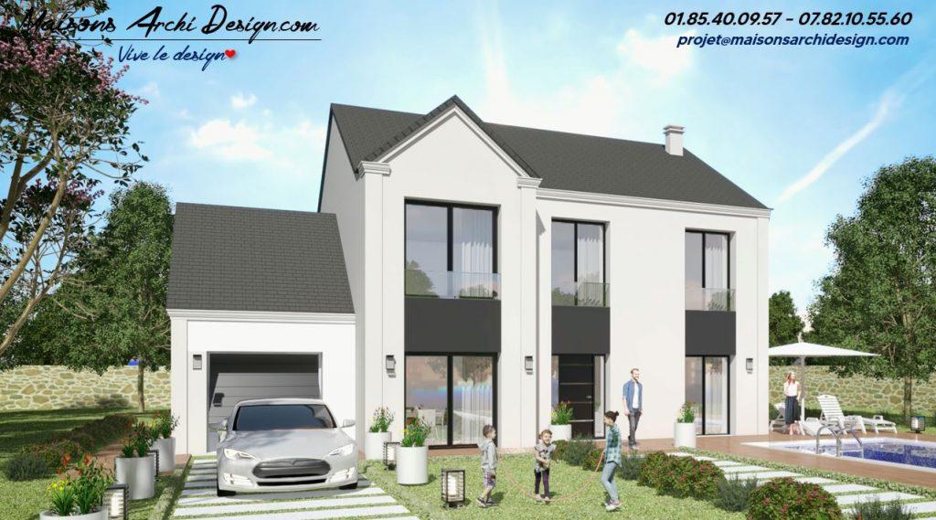 Elegance L Plan maison en L interieur et visuel et photo exterieure a etage