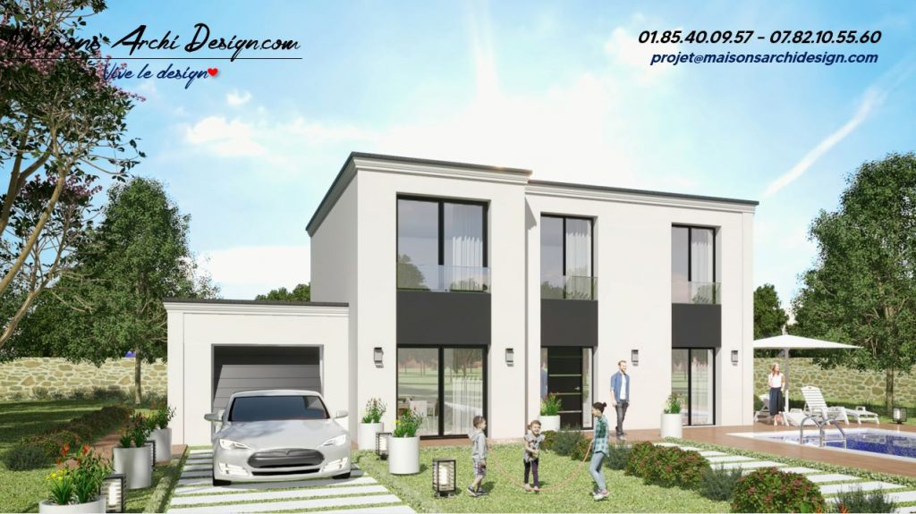 Elegance L TT Black Plan maison toiture terrasse en L
