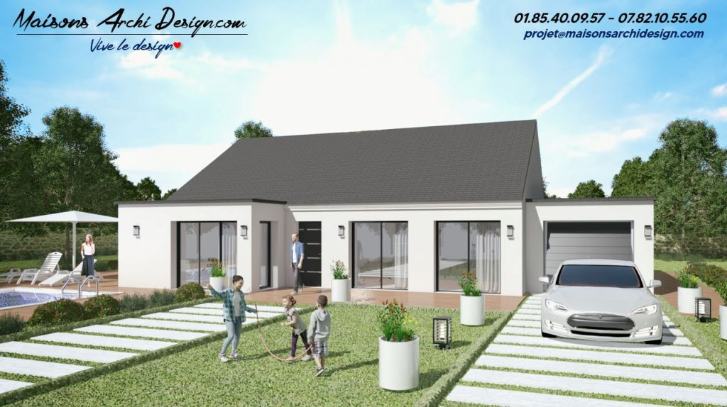 Excellence L 2 pans TT Plain pied Modele et plan maison en L par votre constructeur architecte sur mesure moderne