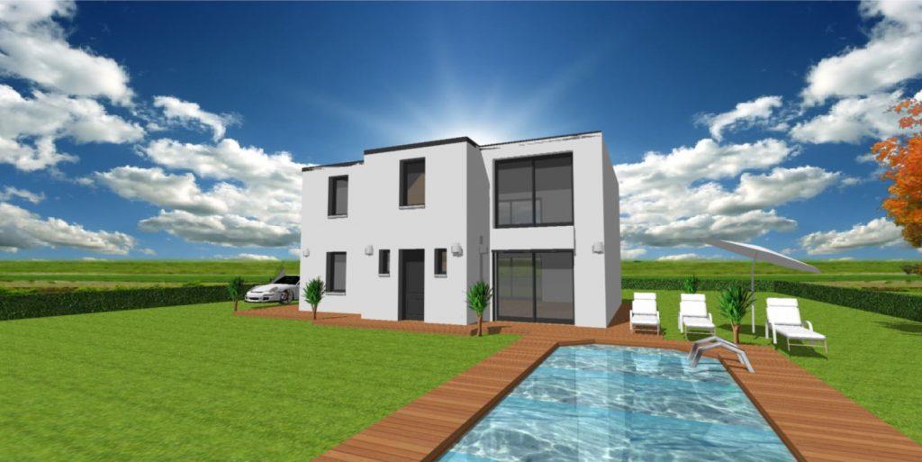 Maison Eden Archidesign toit plat avec une toiture terrasse accessible