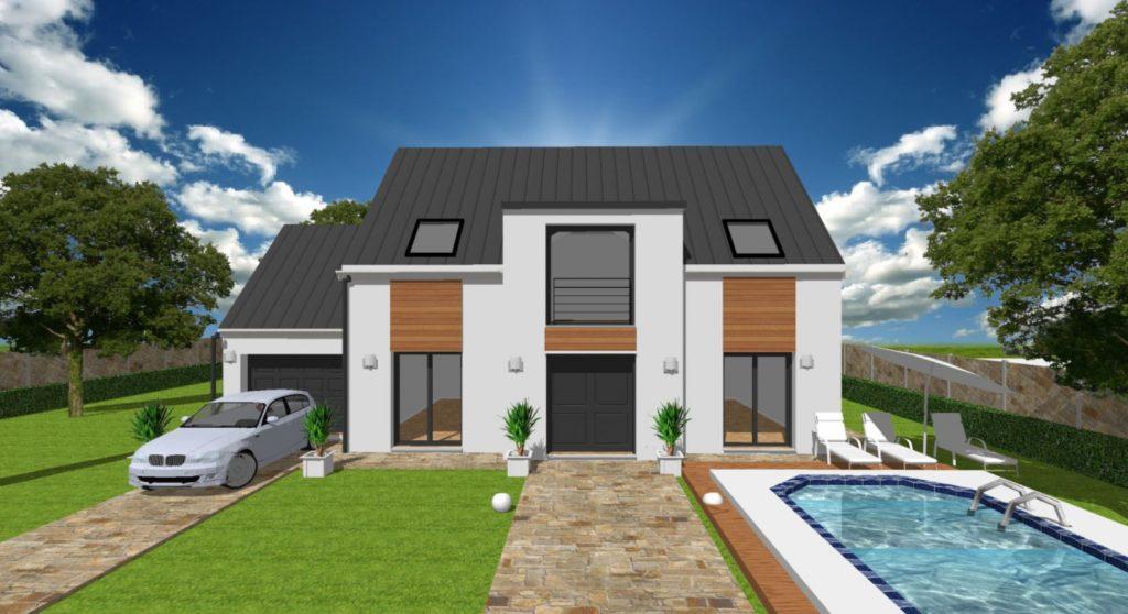 Maison Comble Décroché toit plat moderne