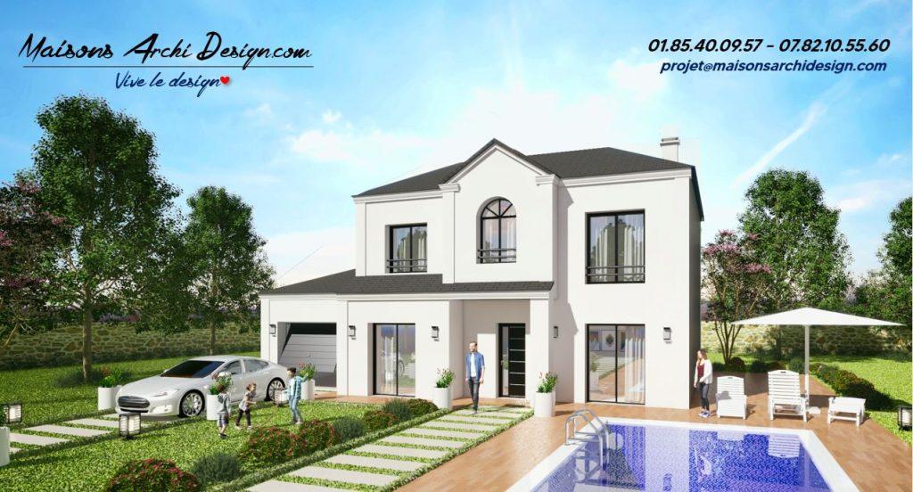 Manoir 4 pans plan modele maison sur mesure avec etage haut de gamme par votre constructeur design