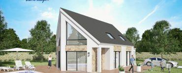 Panorama 3 maison plan modele moderne design avec grandes baies vitree bardage et parement