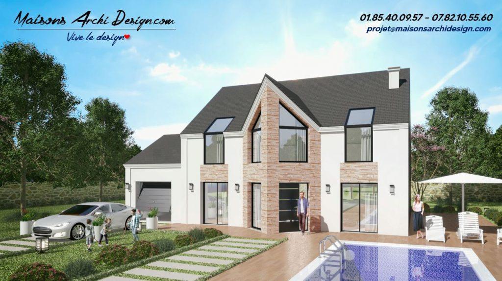 Panorama Altesse VFE maison plan modele moderne design avec grandes baies vitree bardage et parement