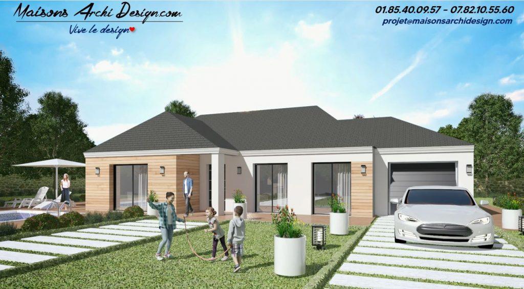 Excellence L 4 pans wood modele plan maison 4 pans contemporain plain pied sur mesure modele design contemporain en L