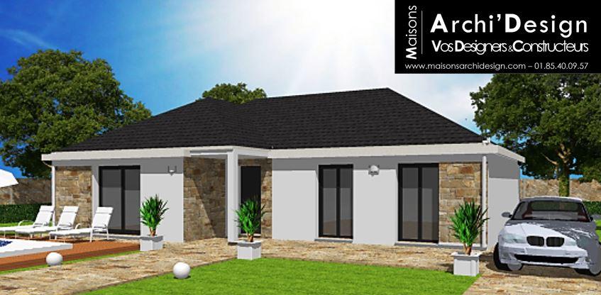 Maison Flo 4 pans porche stone Archidesign