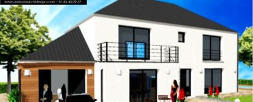 Maison Joa 3 Decroche toit terrasse en avancee Wood et lumiere Archidesign