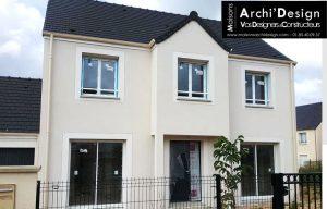 Maison Lea avec porche rentrant contemporain tuile noire dans les yvelines 78 archidesign