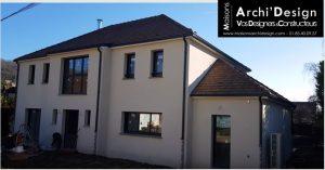 Maison Lea avec verriere et mur rideau en facade avant gouttiere couleur sortie de toit contemporaine dans les yvelines archidesign