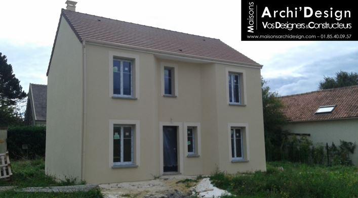 Maison Leo couleur d enduit classique avec porche rentrant dans les yvelines archidesign