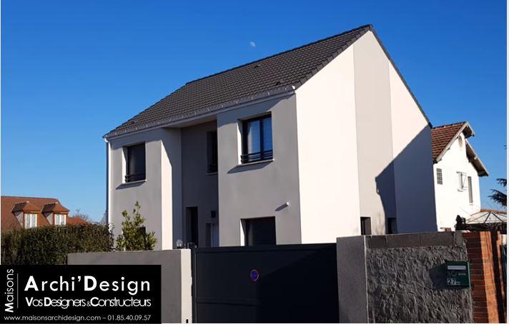 Maison Leo enduit biton contemporain dans les yvelines menuiseries gris anthracite archidesign