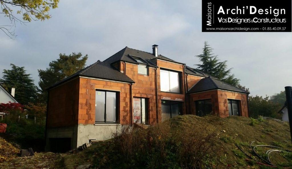 Maison contemporaine 4 pans en R Combles décroches 4 pans et toit terrasse Baie effet toute hauteur dans le 94 archidesign