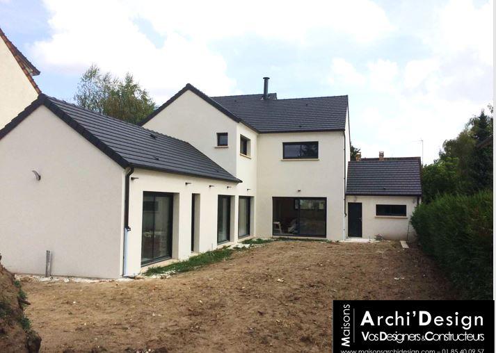Maison sur mesure dans les yvelines en L une partie a etage et une partie plein pied dans un esprit patio archidesign