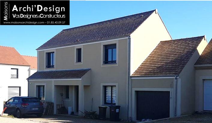 maison joa 2 a etage avec avancee en decroche formant un porche maconne modenature enduit teinte vallee de chevreuse gouttiere zinc en essonne 91 archidesign