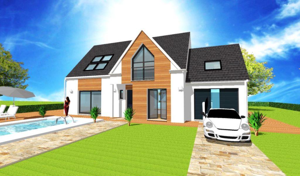 Modele Panorama Altesse L2 Verriere - Maison Comble amenages en LT avec avancee et fenêtre biseau, bardage bois meleze et Velux verriere