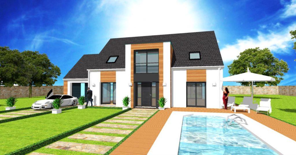 Modele Panorama Altesse T toit terrasse- Maison Comble amenages en T et toit plat avec avancee et baie vitree, bardage bois meleze et Velux verriere