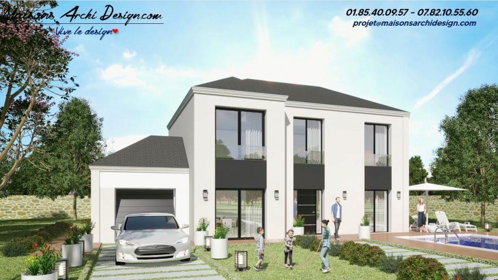 Elegance L Loft 4 pans modele maison plan design et contemporain grande baie enduit biton 4 pense