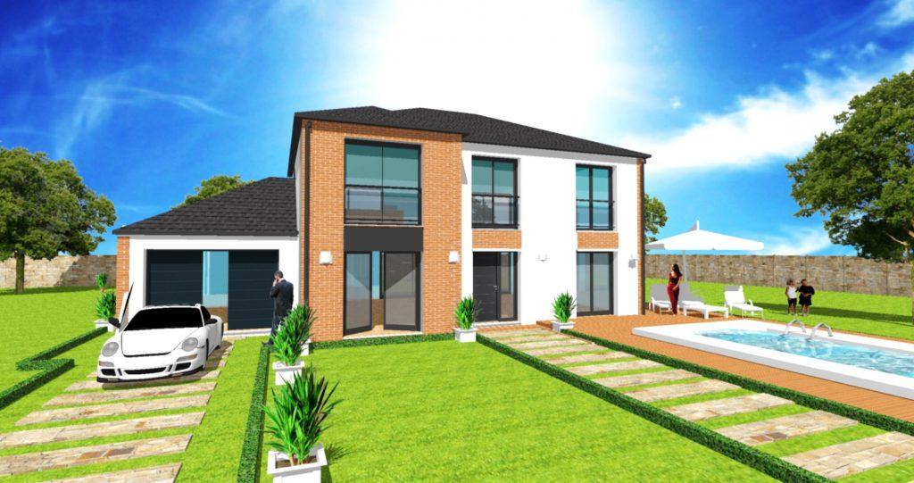 Maison Elegance L Loft 4 pans Grandes Baies Vitrees Vide sur Entree par ArchiDesign Garage 3 pans