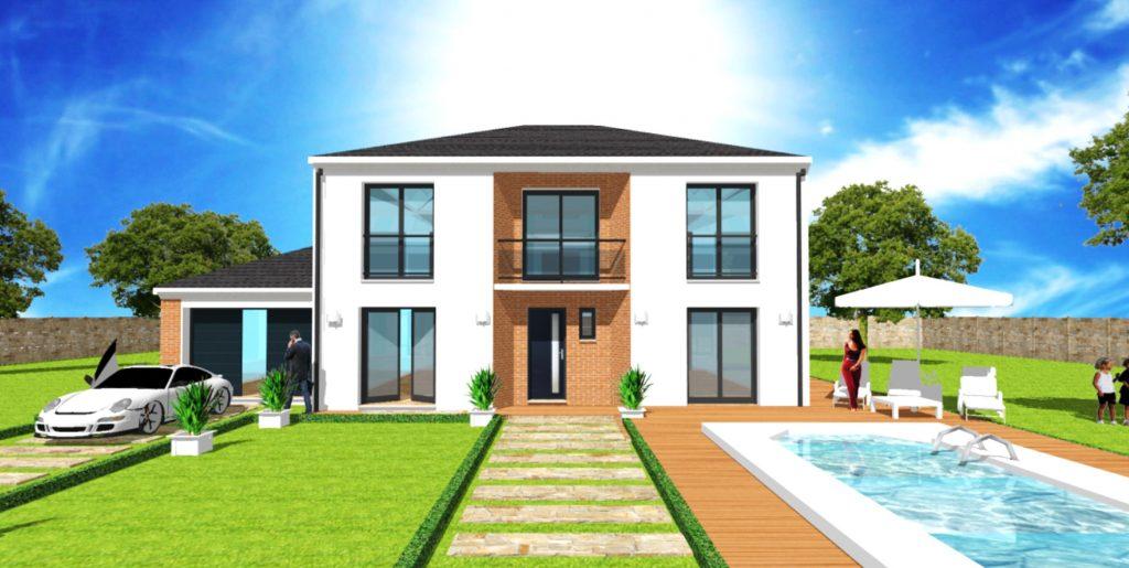 Maison Elegance U Toit 4 pentes Balcon Garage 3 pans Maison Haut de Gamme sur Mesure Design et Moderne par ArchiDesign