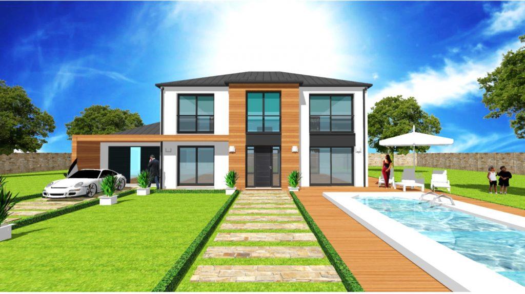 Maison Elegance T Loft 4 pans Grandes Baies Vitrees Vide sur Sejour Bardage bois par ArchiDesign Garage toit plat et débord beton