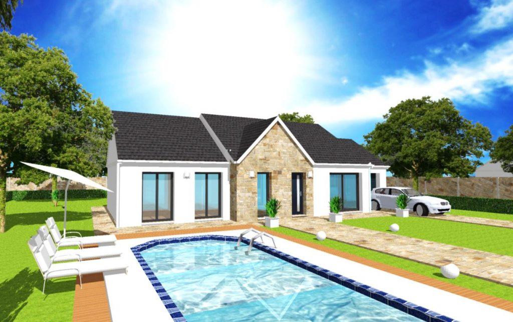Modèle Excellence D Stone Plain Pied Sur Mesure avec Fronton et Parement Pierre Par Votre Constructeur ArchiDesign