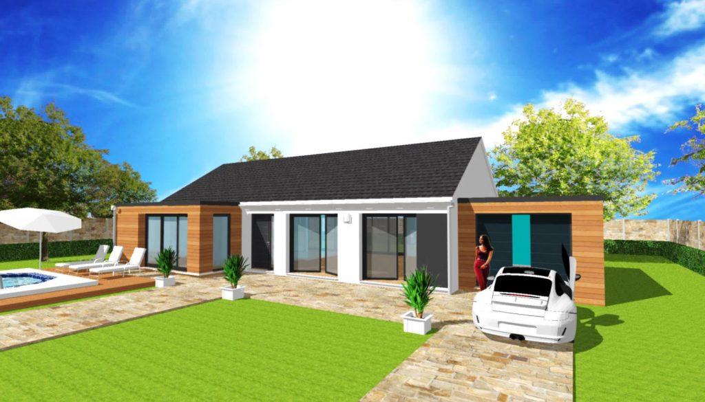 Modèle Excellence L 2 pans Toit Terrasse Plain Pied Moderne Sur Mesure Bardage Garage toit plat Par Votre Constructeur ArchiDesign