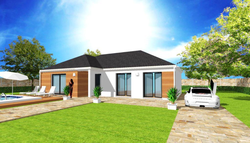 Modèle Excellence L2 4 pans Wood Plain Pied Moderne Sur Mesure avec Bardage et porche Par Votre Constructeur ArchiDesign