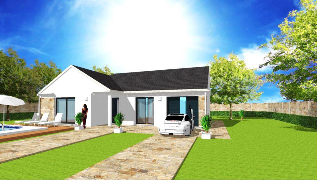 Modèle Excellence L 2 pans Plain Pied Moderne Sur Mesure Garage intégré Par Votre Constructeur ArchiDesign