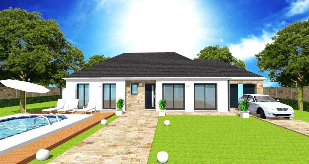 Maison Excellence Toit 4 pans plain pied Bardage bois Maison Haut de Gamme sur Mesure Design et Moderne par ArchiDesign