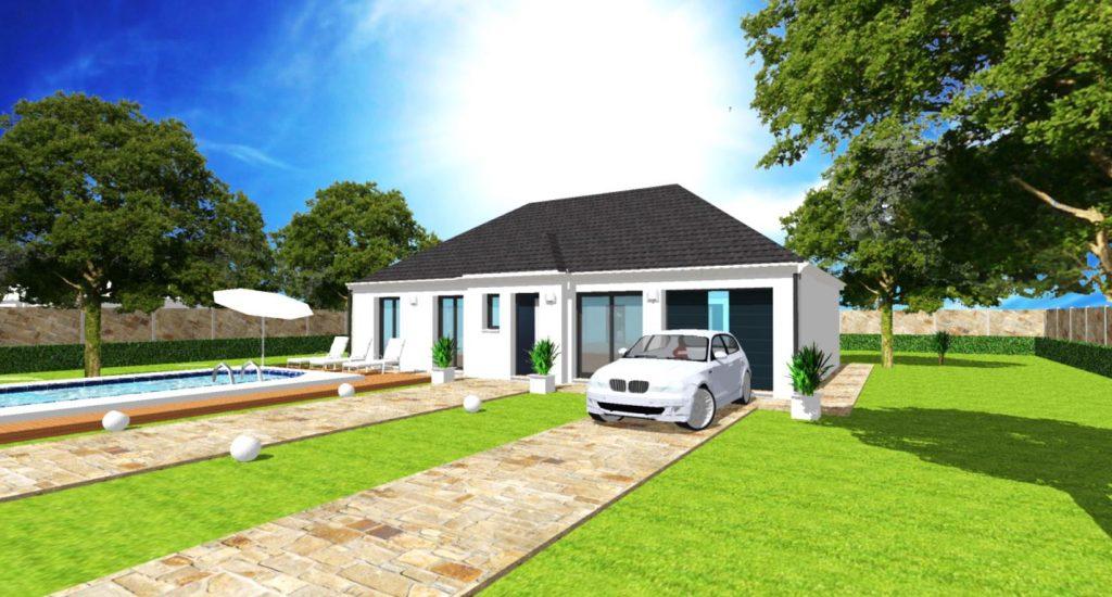 Modèle Excellence T 4 pans Plain Pied Moderne Sur Mesure Garage intégré Par Votre Constructeur ArchiDesign
