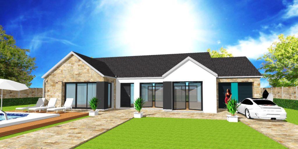 Modèle Excellence U Patio Stone Plain Pied Sur Mesure avec Parement Pierre Par Votre Constructeur ArchiDesign