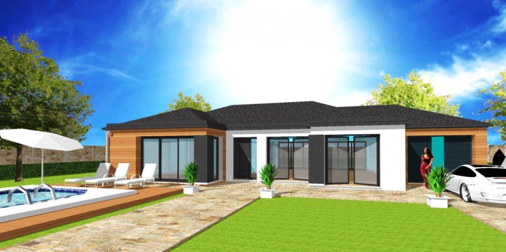 Maison Excellence L Toit 4 pans Contemporain plain pied Bardage bois Maison Haut de Gamme sur Mesure Design et Moderne par ArchiDesign