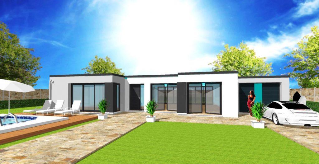 Modèle Excellence U Patio Toiture Terrasse Plain Pied Moderne Sur Mesure Bardage Garage toit plat Par Votre Constructeur ArchiDesign