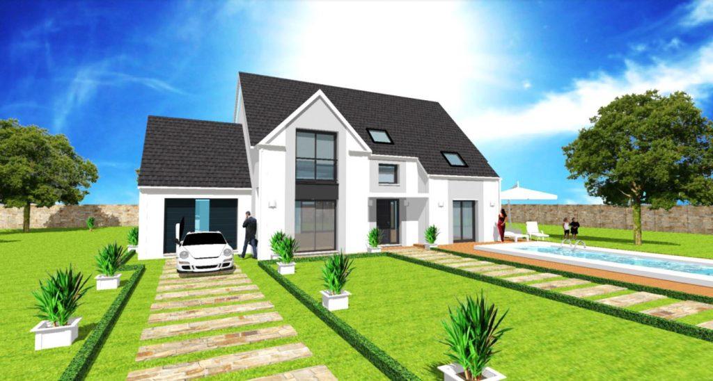 Modele Exception 1.1 - Maison avec comble en L et avancee et porche
