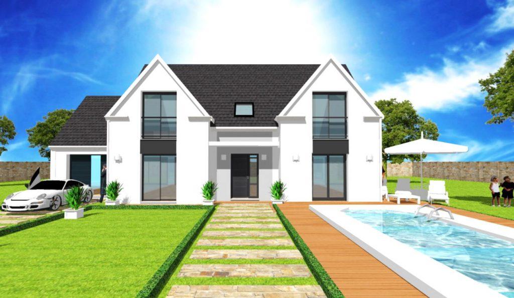 Modèle Exception 2 - Maison R+Combles Design 2 pignons, baies vitrees et porche