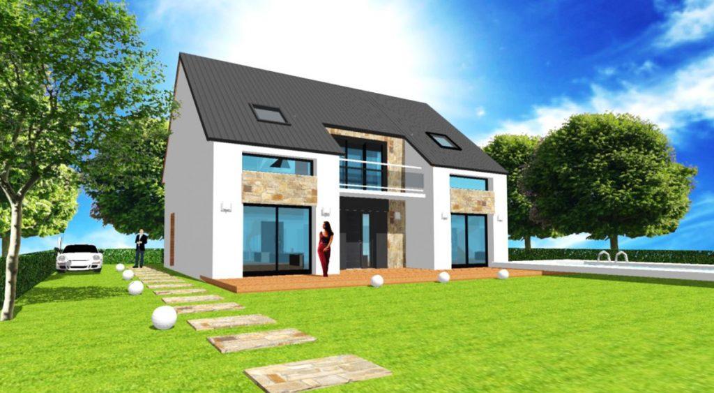Modele Exception 3 - Maison avec comble patio et balcon moderne et parement pierre, une réalisation de votre designer ArchiDesign