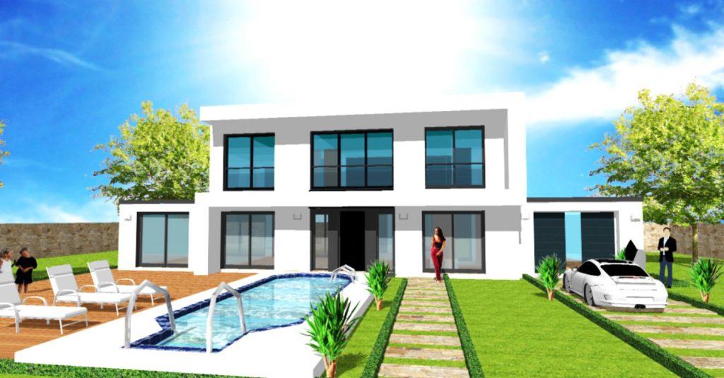 Maison S Blanc Toit terrasse Loft Atelier Debord beton Grandes Baies Vitrees Sejour Cathedrale par ArchiDesign