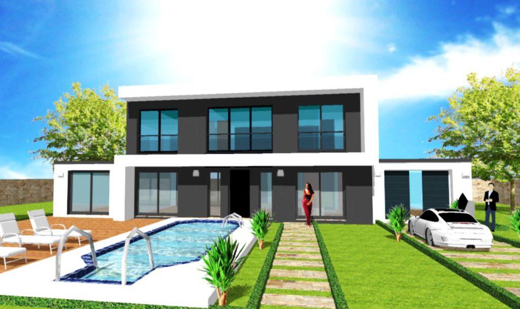 Maison S BlackToit terrasse Loft Atelier Debord beton Grandes Baies Vitrees Sejour Cathedrale par ArchiDesign