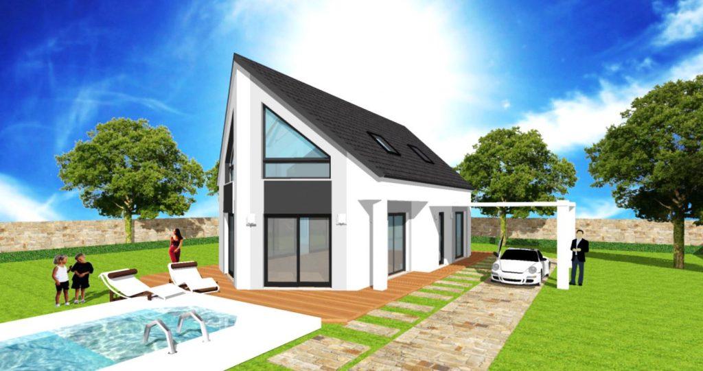 Maison Panorama - Maison comble pignon inverse avec rehausse et carport toit noir enduit blanc et gris