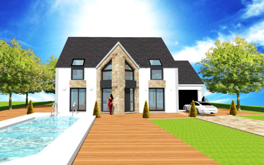 Modele Panorama Altesse T - Maison Comble amenages en LT avec avancee et fenêtre biseau, parement pierre et Velux VFE