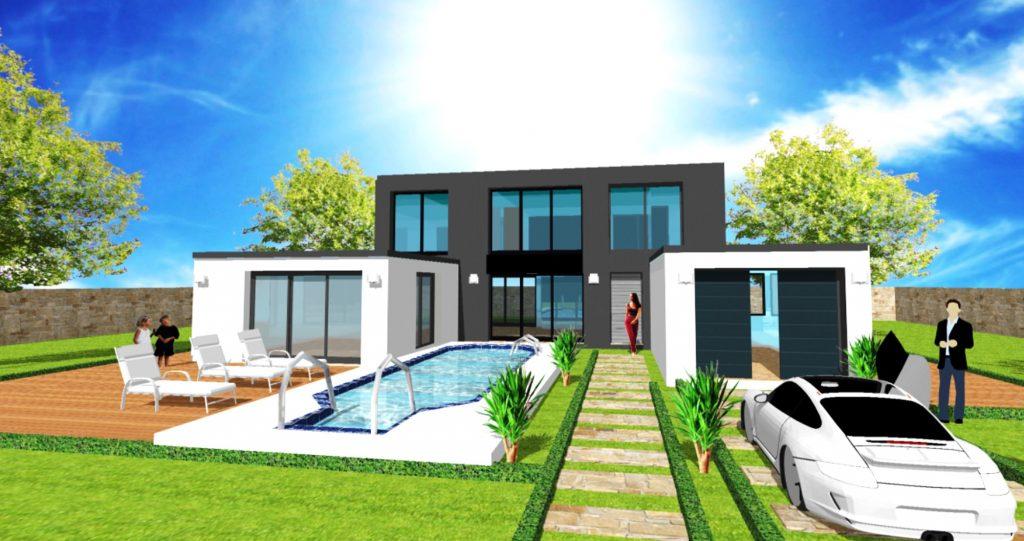 Maison Patio Loft toit terrasse Atelier d Artiste et Verriere par ArchiDesign Garage Toit terrasse
