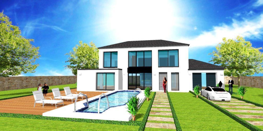 Maison Prestige 2 XL Loft toit 4 pans Style Atelier d Artiste et Verriere par ArchiDesign Avancee toit plat Garage 3 pans