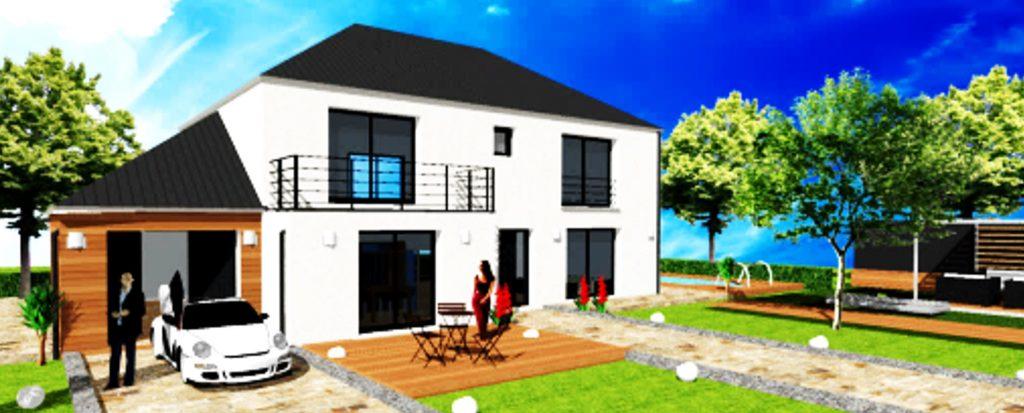 Maison Prestige 2 toiture 4 pans Balcon A etage Bardage Maison Haut de Gamme sur Mesure Design et Moderne par ArchiDesign