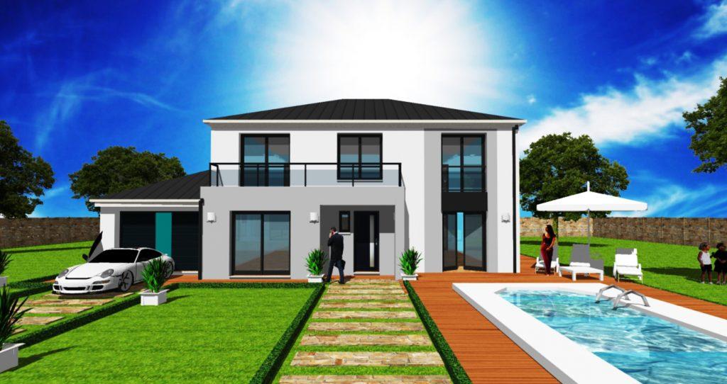 Maison Prestige 3 toiture 4 pans et toit terrasse accessible enduit gris Maison Haut de Gamme sur Mesure Design et Moderne par ArchiDesign