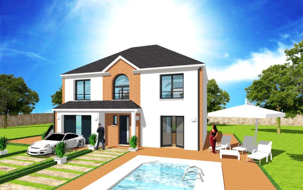 Maison Prestige 2 Toit 4 pans A etage Fronton Bardage bois Maison Haut de Gamme sur Mesure Design et Moderne par ArchiDesign