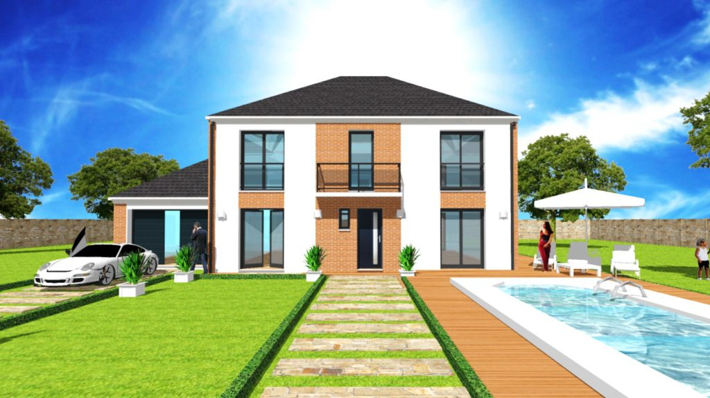 Maison Pretige toiture 4 pans A etage Verriere Parement Pierre Maison Haut de Gamme sur Mesure Design et Moderne par ArchiDesign