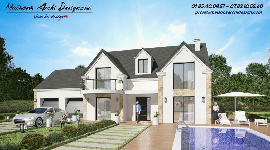Exception 2 Stone Balcon modele maison avec plan haut de gamme sur mesure r combles contemporains moderne parement pierre