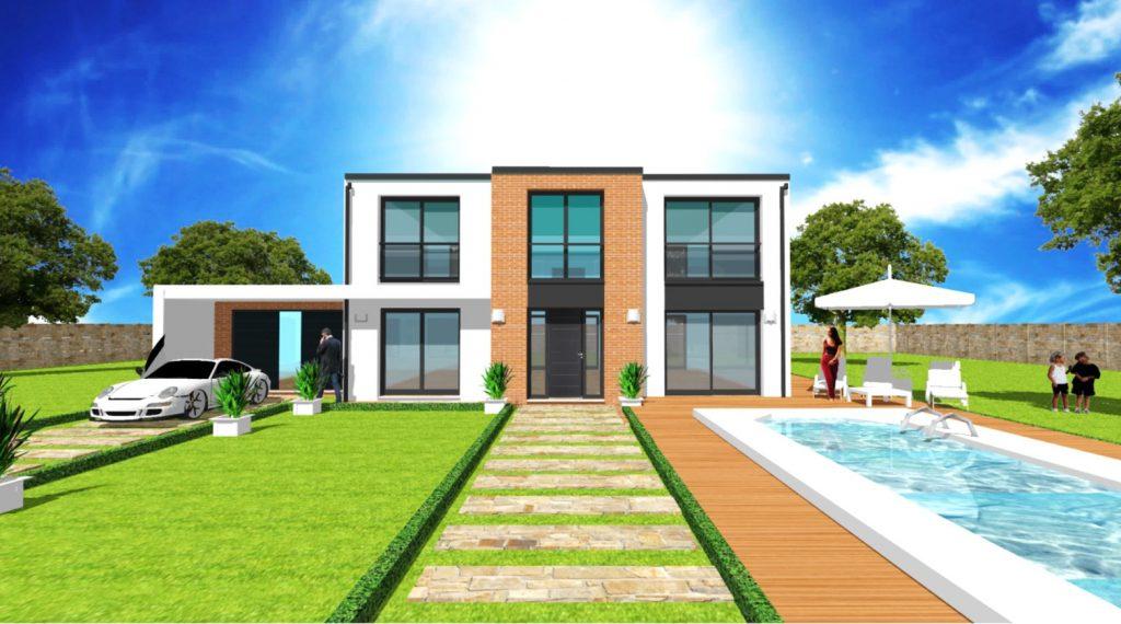 Maison a Etage Constructeur Architecte Design Ile de France Elegance toit plat toit terrasse debord beton facade brique